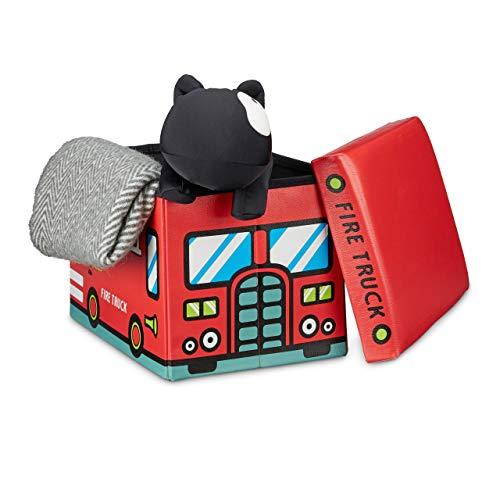 Relaxdays Faltbare Spielzeugkiste Feuerwehr HBT 32 x 48 x 32 cm stabiler Kinder Sitzhocker als Spielzeugbox aus Kunstleder mit Stauraum ca. 37 l und Deckel zum Abnehmen für Kinderzimmer, Firetruck (Leder-würfel-box)