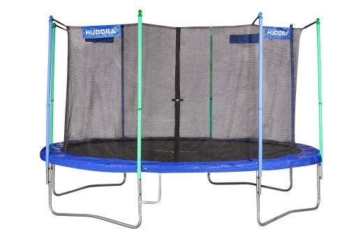 HUDORA Trampolin Fitness, blau - Garten-Trampolin mit Sicherheitsnetz - 400 cm