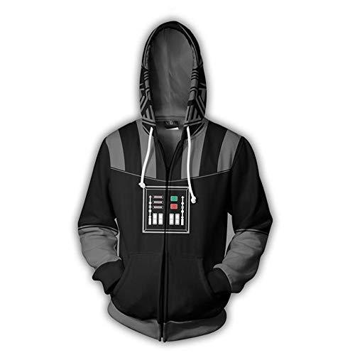 RJHWY 3D Hoodie Sweatshirt Unisex Pullover Kapuzenjacke Kleidung Mantel Reißverschluss Anime Top Star Wars Darth Vader L