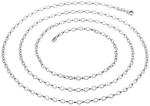 Nenalina Silberkette Charm-Kette Weitankerkette 2,7 mm aus 925er Sterling Silber, ideal für Schmuck und Charm-Anhänger, Länge 60 cm, 802047-060