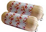 HSR Collection Cotton Printed Bolsters Covers with teing Thread (32 x 16 Inches, White) - Set of 2