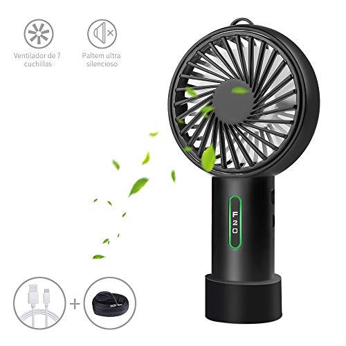 LOBKIN Portátil de Bolsillo Portátil Mini Ventilador Ventilador Eléctrico con Batería Recargable 2600mAh 14 Horas de Tiempo de Trabajo Ajustable 3 Velocidades para la Habitación (Negro)