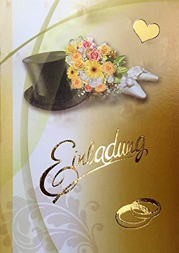 Einladungskarten Hochzeit mit Innentext Motiv Zylinder 10 Klappkarten DIN A6 im Hochformat mit weißen Umschlägen im Set Hochzeitseinladung vom Brautpaar Vintage Einladung Hochzeit Retro K171