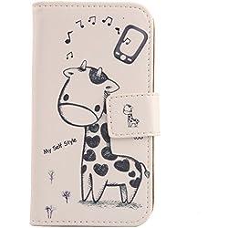 """Lankashi Giraffe Design Custodia Portafoglio in PU Pelle Caso Guscio Protettiva Cover con Porta Carte Skin Case per Blackview BV7000 PRO 2017 5"""" 4G"""