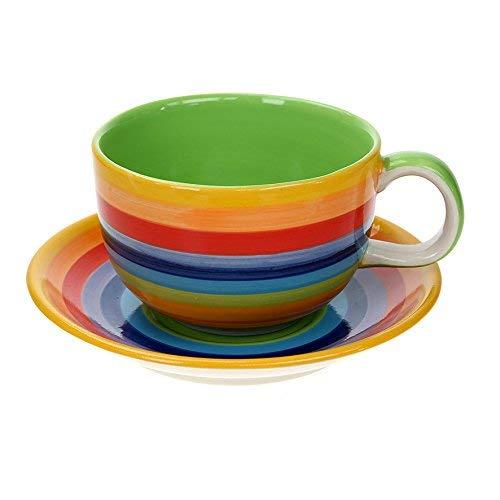 Windhorse-Kaffeetasse und Untertasse, gestreift, Regenbogenfarben, Größe XL, 570 ml