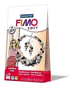 Staedtler 8025 08 - Fimo Suave de la Perla de la joyería de Bricolaje, a 4 cuadras, 25 g, Collar, Sistema de Gancho del Pendiente, elástica