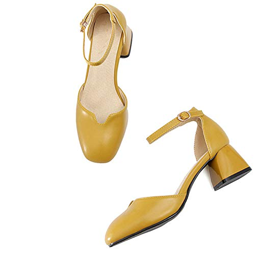2018 Gladiator Buckle Straps Summer Woman Shoes High Thick Heeled Sandals Women Shoes Beige Pink S457 Yellow 10