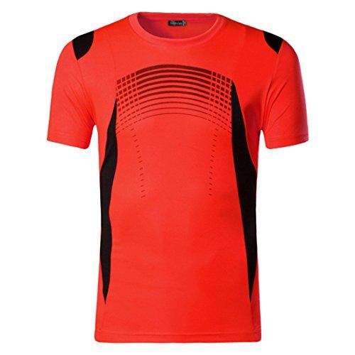 Men's Summer Designer Quick Dry Slim Fit Tee Shirt OrangeRed