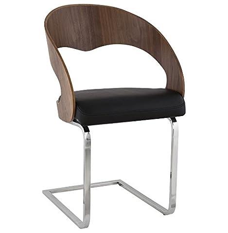 OLA - Chaise moderne pour salle à manger en similicuir noir/walnut (1)