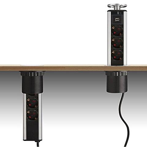 Dazone 3 Fach versenkbar Steckdose Tischsteckdose Mehrfachsteckdose mit 2 USB und 2m Kabel für Büro Küchen und Arbeitsplatz,Steckdosenleisteaus Aluminium Silber