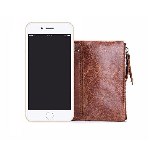 VECHOO Premium echtem Rindsleder Geldbörse mit RFID Schutz, Vintage Bifold Geldbeutel Doppelreißverschluss Portemonnaie mit Kreditkarte Halter(Braun) - 6