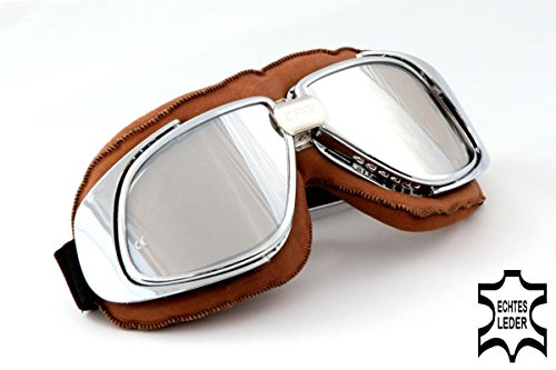 Qubeat Motorradbrille Classic, ECHT Leder, braun mit silbernen Gläsern, Motorradbrille Echtleder