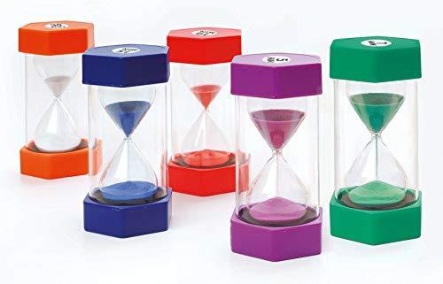FLIXI Maxi SANDUHREN 5er Set mit unterschiedlichen Laufzeiten - 1, 5, 10, 15, 30 min - Sanduhr für...