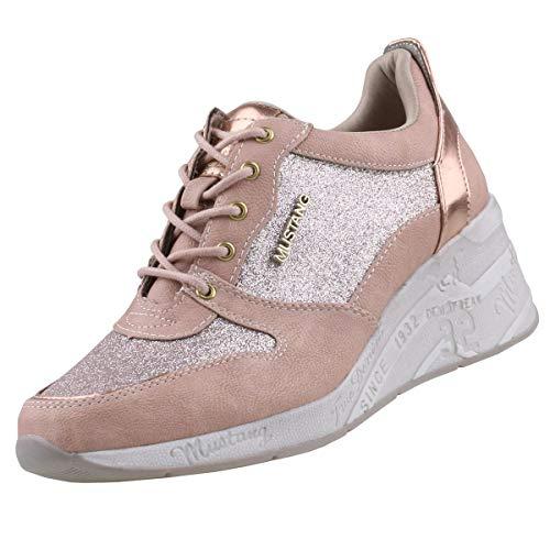 Mustang Damen Keil-Sneaker Rosa, Schuhgröße:EUR 44