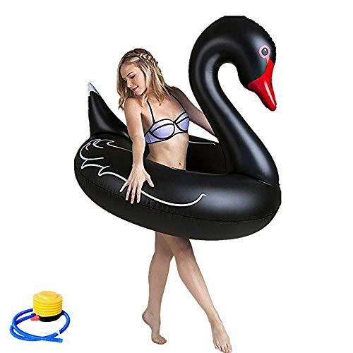 Cigno gonfiabile nero,galleggiante gonfiabile galleggiante per piscina,float summer water sports lettino da nuoto giocattoli,per bambini e adulti per festa