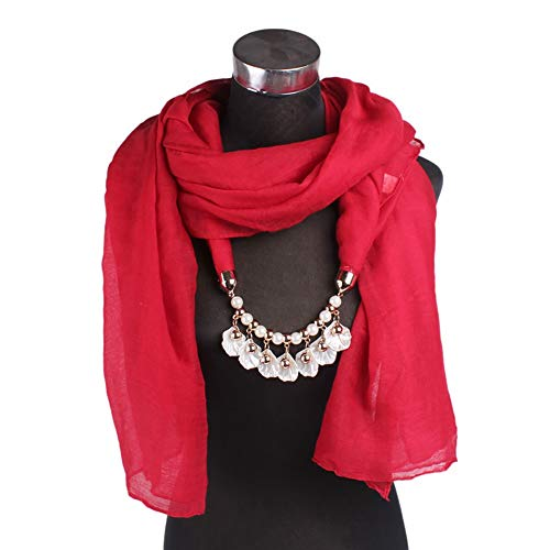 Fuskang sciarpe fai-da-te collana con ciondolo gioielli in pietra sciarpe collana con ciondolo for gioielli da donna accessori (color : red)