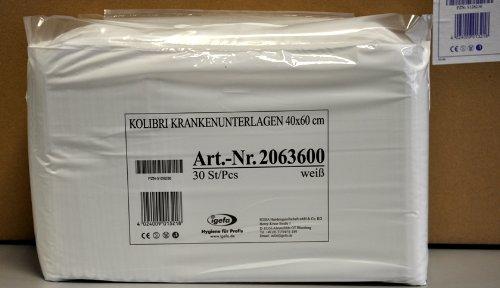 9 x 30 Stück Krankenunterlagen mit hautfreundlicher Vliesabdeckung, Kolibri KU, Abmesung 40x60, Farbe leichtweiß