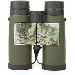 JIANFCR Binoculares 8x42 para adultos, compactos impermeables y a prueba de niebla Binoculares HD para observación de aves Senderismo Conciertos de viaje Caza Sports-BAK4 Prisma Lente FMC ( Color : Verde )