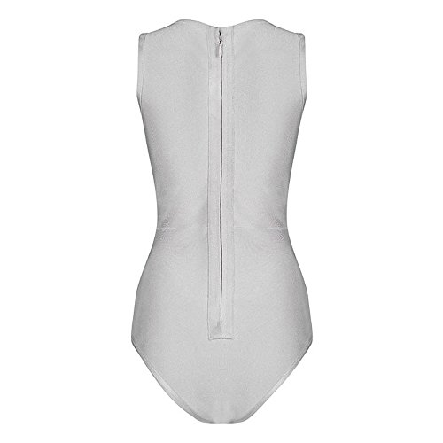HLBandage One-Piece V-Neck Cross Rayon Women Bandage Swimsuit Grigio