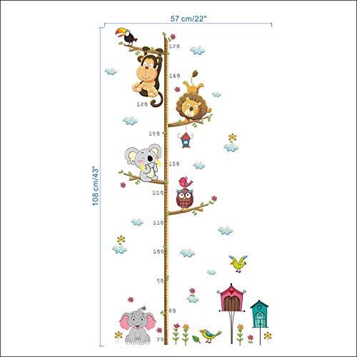 (LQWE Affe Eule Elefant Wandaufkleber Kinder Kinderzimmer Zimmer Hauptdekorationen Wachstum Diagramm Höhe Maßnahme Dschungel Tiere Wandbild PVC Decals)