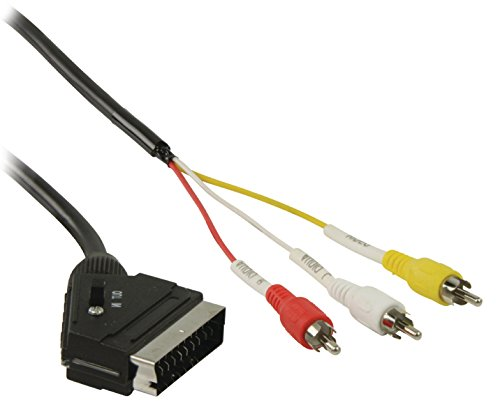 Eurosell AV Kabel Scart-Stecker - 3x Cinch RCA male Stecker VCR TV Anschluss - 1m 1 Meter 1 Rca Tv-vcr