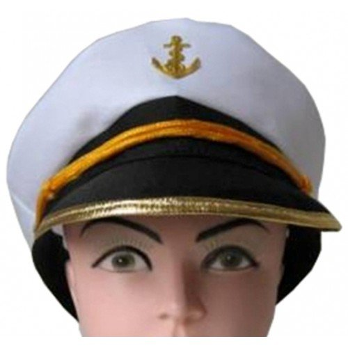 Captain Hat with Gold Rim Trim and Ancr Gold Trim Rim
