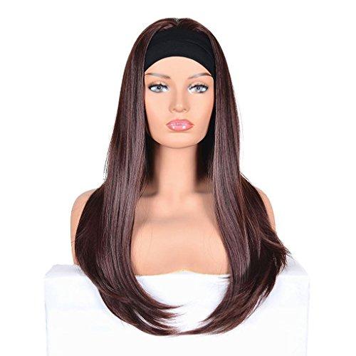 Babysbreath17 Frauen-Mädchen-Perücken Haarteil lange gerade Cosplay Perücke mit Adjust-Stirnband-Fälschungs-synthetischem Ersatzhaar Dunkelbraun