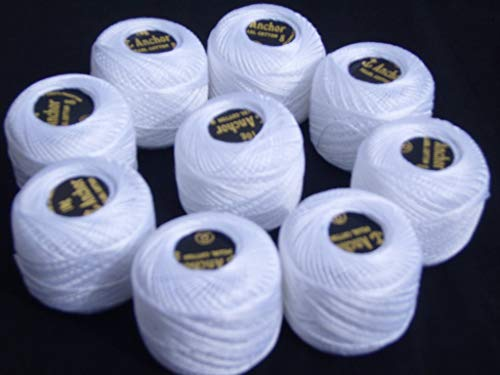 10 ANCHOR Pearl Cotton Balls.- WHITE Size 8 85 Metres