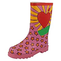 Spot On Girls Heart and Star Design Wellington Boots - Pink Rubber - UK Size 3 - EU Size 35 - US Size 4