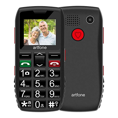 Seniorenhandy, ODLICNO Mobiltelefon Senioren-Handy Großtastenhandy ohne Vertrag mit großen Tasten 1.77 Zoll Farbdisplay Notruftaste Taschenlampe Kamera GSM Dual SIM Rentner Handy (Schwarz)