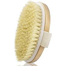 IBEET Pennello per il corpo esfoliante secco e umido, setola naturale, spazzola esfoliante per rimuovere la pelle morta, massaggiatore per il corpo scrubber in legno