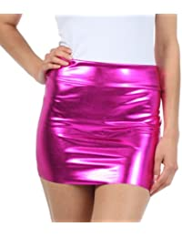 Sakkas Women's Shiny Metallic Liquid Mini Skirt