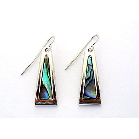Cromo triangle con decorativa/concha de abulón embutido pendientes de Nueva Zelanda - 9 x 30 mm