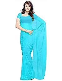 7Th Feb Women's Chiffon Silk Saree With Blouse Piece (7 Plain_Sky Blue)
