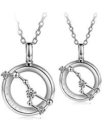 63e8fe691b5051 Adisaer Herren Damen Paar Kette Silber Halskette Silber/Gold Runde Großer  Wagen Diamant Kristall…
