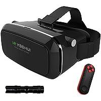 YSSHUI 3D VR Gafas, 3D VR Auricular Bluetooth con Mando a Distancia cartón Realidad Virtual Video Mobile Phone 3D Juegos con Resina Lente de 4,7–6,0Pulgadas Móviles