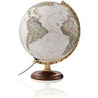 National Geographic - Globo terráqueo de nogal y metal, iluminado, en castellano, 30 cm, color sepia (Mapiberia Gold Executive)