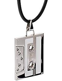 DonDon Collier en cuir avec pendentif old school hip hop et anneau en acier  inoxydable dans une pochette en velours… ca07d77b0dc0