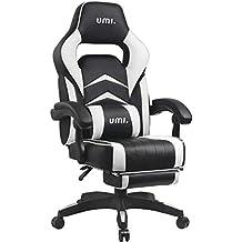 Umi. by Amazon - Gaming Stuhl Bürostuhl Schreibtischstuhl mit Armlehne Gamer Stuhl Drehstuhl Höhenverstellbarer Gaming Sessel PC Stuhl Ergonomisches Chefsessel mit Fußstützen Weiß