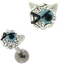 Cristal clair coloré Multi pierres belle clignotante Cat Tragus Cartilage Helix Piercing bijoux