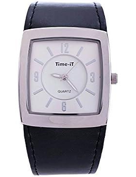 Zeit, Marke Gent'' s Ultra Slim Design Leder Armband Quarz Analog Armbanduhr (Weißes Zifferblatt mit schwarzen...