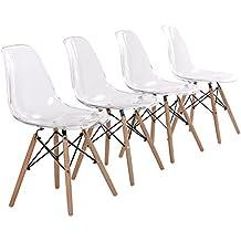 EGGREE Lot De 4 Chaise Transparente Scandinave Salle A Manger En Polycarbonate Et Les Jambes