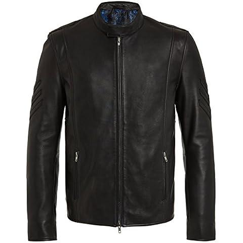 Cazadoras de Cuero para Hombre - Cazadora Negra de Piel Genuina - Chaqueta de Calidad Excepcional - Chaquetas Designer Fashion Rock Bomber para Hombres S M L XL