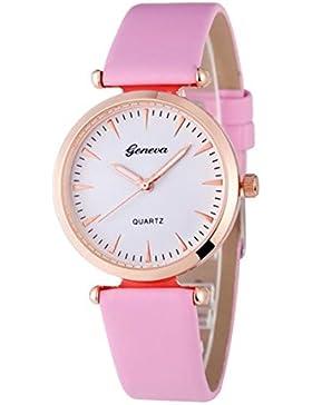 Vovotrade Damen Diamant analoge lederne Quarz Armbanduhr Uhren(Rosa)