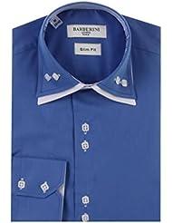 Chemise Cérémonie Homme boutons carrés apparents couleur bleue et blan