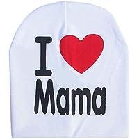 Erduo Los niños Los niños Imprimen de Punto I Love Mama Baby Hat Algodón Unisex Baby Cap Letter Kids Hat por 0-3 años - Blanco