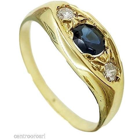 Anello UOMO in Oro 18kt con Zaffiro e Diamanti - 18k gold men ring with Sapphire, Diamond
