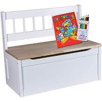 madera de con/ífera de densidad media asiento blanco Banco para ni/ños de 50 cm de altura compartimento de almacenamiento banco para ni/ños asiento para habitaci/ón infantil