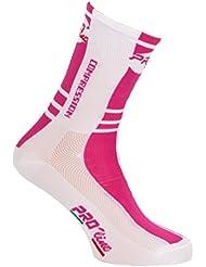 Calcetines ciclismo Proline Magenta Blanco Compression Cycling Socks 1par One Size