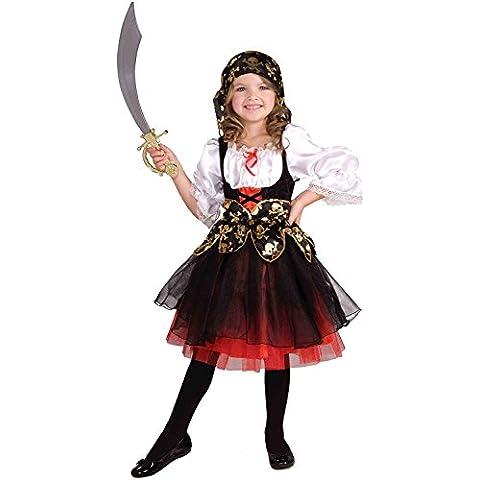 Disfraz de pirata de piezas para niñas - Disfraz de pirata - Black, white, red - Talla 128 (5-7